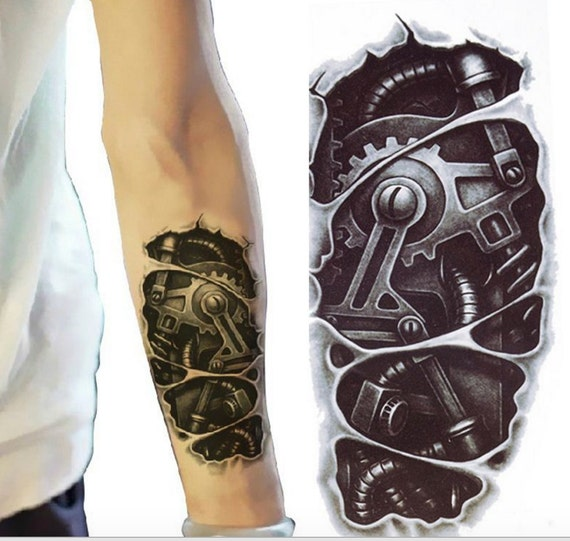 bionic robot temporary tattoo sleeve tattoo sleeve by mybodiart. Black Bedroom Furniture Sets. Home Design Ideas
