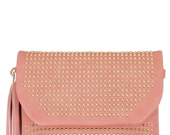 Pink With Studs Decorated Clutch Handbag