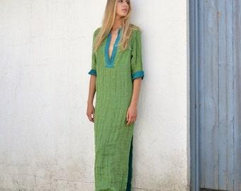 EMMA. Elegant mint long shirtdress. Relaxed soft pure linen caftan.