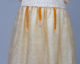 Brocade and Georgette Buttercream & Orange Bridesmaid / Special Occasion Dress from JQ's Felicity Range 12 to 18 months