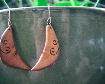 1 pair wood Earrings from Plum wood, stainless steel 1, 3 x 3, 6 cm