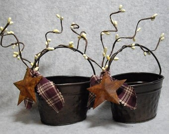 Country,Rustic,Primitive look little bucket with Rusty Star, Pip Berries, & Homespun Cotton