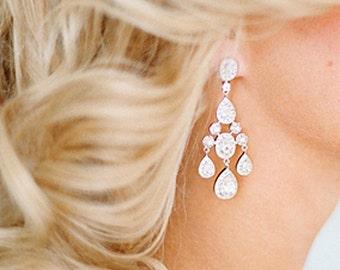 Chandelier Earrings Bridal Earrings Wedding Earrings Сlear stone wedding Jewelry Bridesmaid Earrings  Long bridal earrings Wedding Accessory