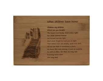 Parents, Empty Nest, Children, wood plaque, laser etched, Family gift,laser etch, parent memory,children memory, children leaving home,