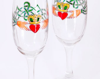Claddagh Wedding Glasses, Unique Wedding Glasses, Irish Glasses, Celtic Wedding, Claddagh Ring, Celtic Decor
