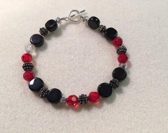 Bead Bracelet, Red/Black with Metal Spacers