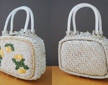 1960s Vintage Lemon and Leaves Embroidery Seed Bead White Wicker Woven Lucite Handle Handbag Designer Princess Charming by Atlas Hollywood