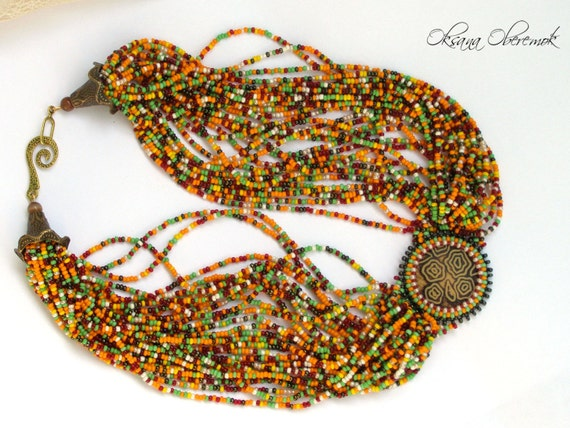 African beaded necklace African choker beadwork tribal jewelry
