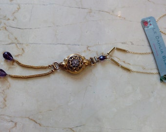 Vintage neckalce, 1950s gold plated watch pendant