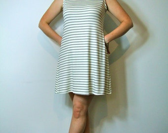 White with Black Stripes Stretchy Turtleneck Shift Dress 1960's Style