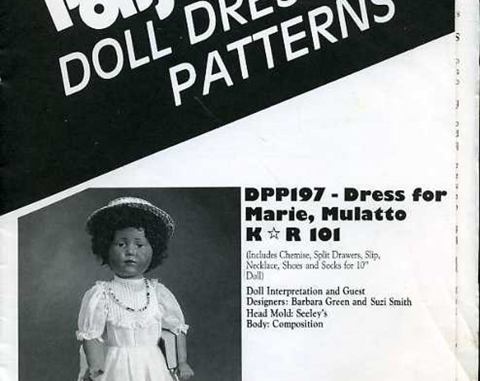 "FREE US SHIP Poissot Doll Dress Pattern Retro 1990's dpp197  Marie 10"" Sewing Pattern Insert From Dollcrafter Vintage Magazine"