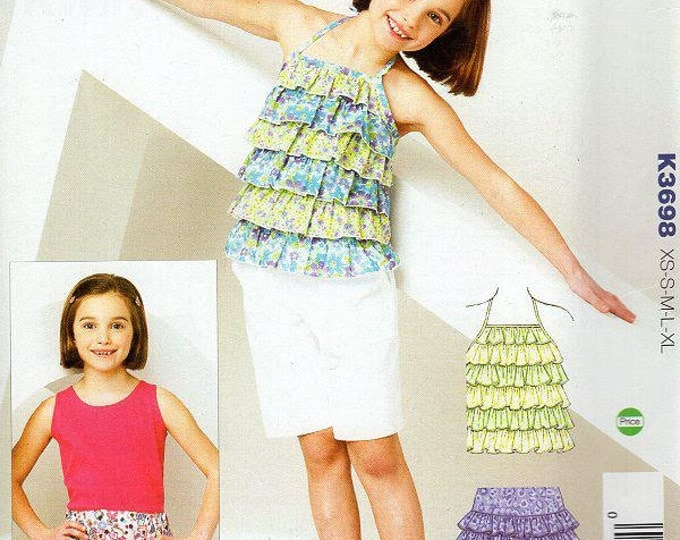 FREE US SHIP Kwik Sew 3698 Girls Ruffly Ruffle Halter Top Skirt Size 4/14 2012 Out of Print New Sewing Pattern Out of Print