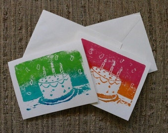 Hand Stamped Acrylic Birthday Cards (Set of 6) by Olivia Rose Art