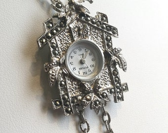 Vintage Clock Necklace Coo-Coo Clock Necklace Costume Jewelry