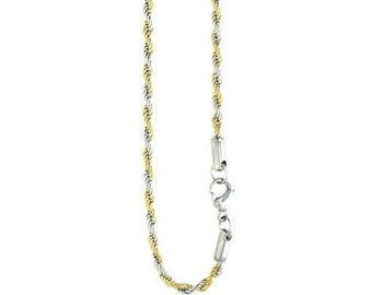 """10- 5mm Two Tone Rope Chians, Gold Plated Stainless Steel Rope Chains, Available in 20"""", 24"""", & 30"""", Necklace, Wholesale Chains #CHN9701-5mm"""