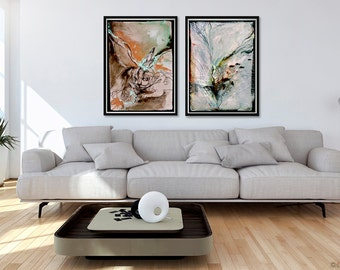 On Land and at Sea, abstract painting print set of 2, acrylic abstract, abstract art set, modern abstract painting, rabbit art, fish art