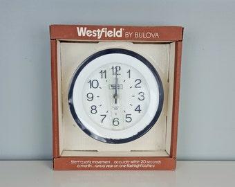 Vintage Westfield by Bulova Wall Clock, New Old Stock Bulova Clock, Vintage in Box Bulova Clock, Black White Wall Clock, Black White Decor
