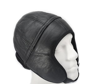 Leather Hat - Aviator Hat - Black Leather H5 - Free Shipping and Optional Fedex Express Shipping