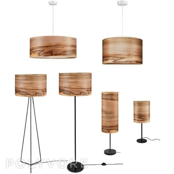 Sven Wooden Floor Lamp Veneer Lamp Shade Satin Walnut