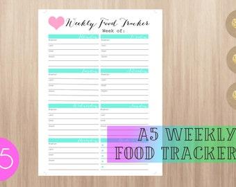 Printable Weekly Food Tracker PDF - A5 Filofax / Kikki K Large Planner