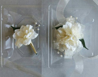 Wedding Corsage Ivory and Gold Wrist Corsage with Matching Boutonniere