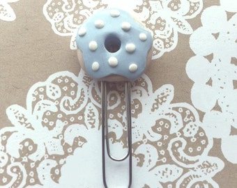 Donut with blue frosting and white sprinkles paperclip!