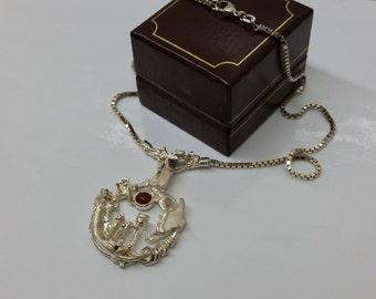 Designer pendant necklace 925 Silver carnelian SK488