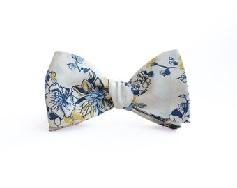 Abbey Yellow and Blue Floral Men's Bow Tie