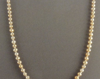 "16"" Golden Freshwater Pearl & Sterling Silver Beaded Necklace"