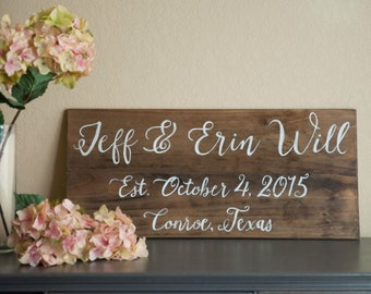 Wedding date wall decor established family name sign