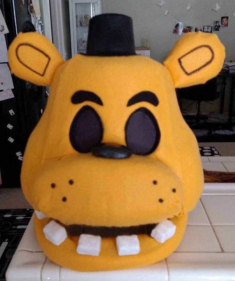 Golden freddy fnaf costume mask movable jaw by morsbanegoods