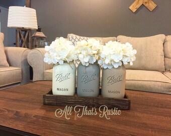 Mason Jar Centerpiece, Mason Jar Decor, Rustic Home Decor, Wooden Tray, Reclaimed Wood, Painted Mason Jars,Table Decor, Rustic, Housewarming