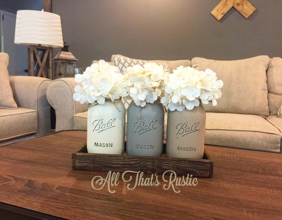 Mason jar centerpiece mason jar decor rustic home decor for Northwoods decor