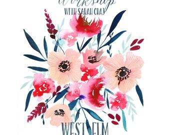 Floral Watercolor Workshop at West Elm Roseville