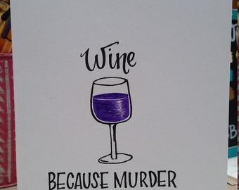 Hand drawn Wine Lover Greeting Card
