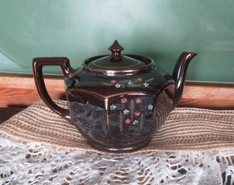 Vintage Teapot Redware Made in Japan Brown Tea Pot Vintage 1950s MIJ Redware Brown Teapot