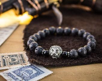 8mm - Black lava stone beaded silver Lion stretchy bracelet, black lava bracelet, bead bracelet, mens bracelet, made to order yoga bracelet