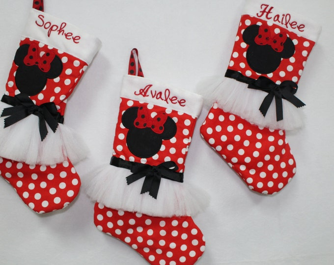 Christmas stockings, Minnie Mouse Christmas stockings, Disney Christmas stockings, Personalized Christmas stockings,Girl Christmas stockings