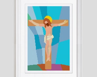 Jesus cross stitch pattern, counted cross stitch pattern, modern cross stitch pattern, Jesus cross stitch pdf pattern