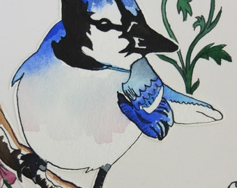 "Illustrated hand made greetings card ""Blue Jay"""