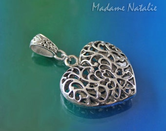 Filigree Heart Pendant, Antique Silver Heart, Silver Heart Pendant, Victorian Style Heart Pendant, Puffed Heart, Valentine's Day Heart