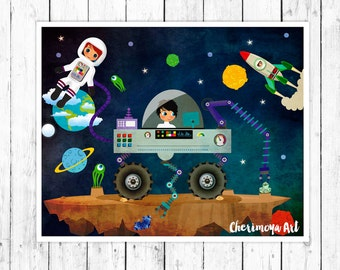 Outer Space Kids Wall Art Rocket Ship Print Boys Room Decor - Space kids room