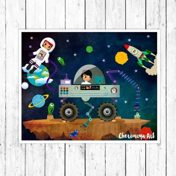 Outer space illustration boys room decor nursery wall art for Decor outer space