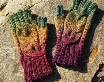 Hand Knitted fingerless gloves, wool fingerless gloves, women's gloves, knitted in Australia