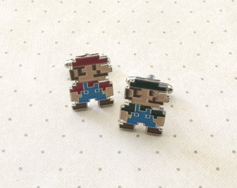 Mario Luigi Bros Retro Arcade Game Cufflinks Cuff Links in Silver