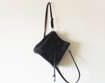 Mini convertible leather bucket bag crossbody and backpack