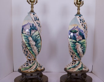 Pair of Capodimonte Italian Pottery Lamps