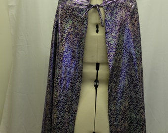 REVERSIBLE HOODED CAPE - Purple Sequin-Print / Silver