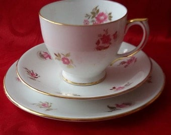 Windsor teacup, Saucer and Side Plate Trio - Pink Floral