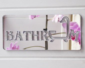Acrylic Bathroom Bath Tub & Shower Mirrored Door Sign